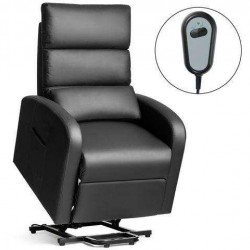 Electric Power Lift  Leather Recliner Chair-Black