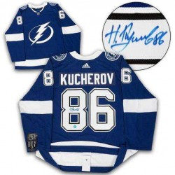 AJ Sports World KUCN12300B Nikita Kucherov Tampa Bay Lightning Autographed Adidas Hockey Jersey