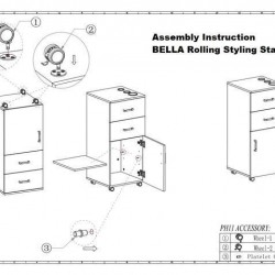 BELLA Rolling Styling Station, Rolling Stylist Cart with Appliance Holder, Drawer Storage Cabinet for Beauty Hair Salon Barbershop, Black/White