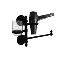 Allied Brass QN-GTBD-1-BKM Que New Collection Hair Dryer Holder & Organizer, Matte Black