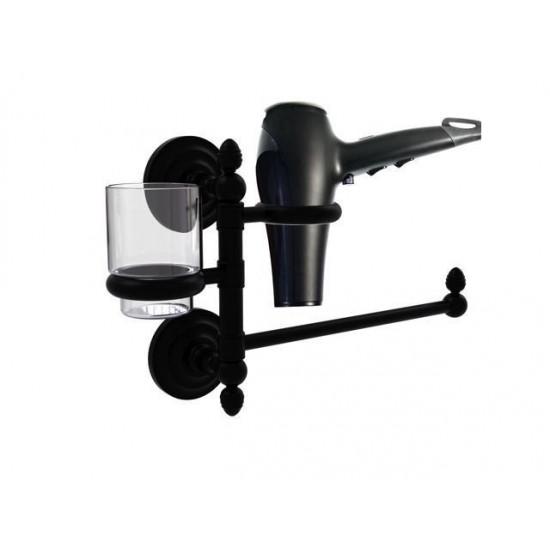 Allied Brass QN-GTBD-1-BKM Que New Collection Hair Dryer Holder & Organizer, Matte Black