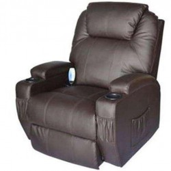 OnlineGymShop CB15859 Living Room Recliner Massage Chair Heated Vibrating PU Leather - Brown