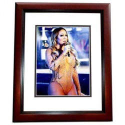 Real Deal Memorabilia MCarey11x14-3MF Sexy Singer Mariah Carey Signed Autographed Photo Frame, Mahogany