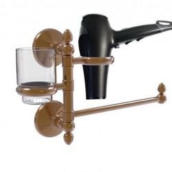 Allied Brass MC-GTBD-1-BBR Monte Carlo Collection Hair Dryer Holder & Organizer, Brushed Bronze