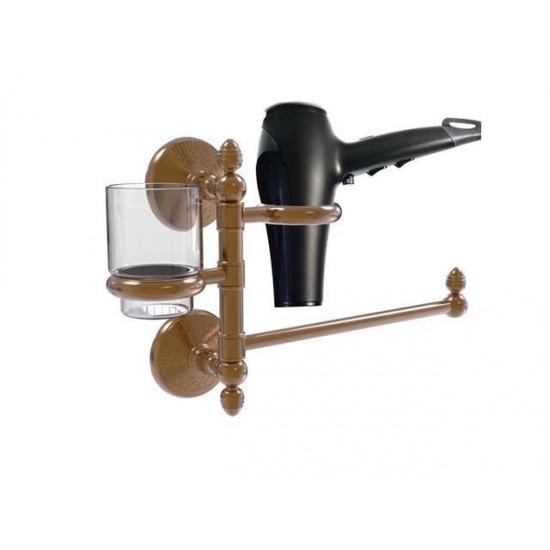 Allied Brass MC-GTBD-1-BBR Monte Carlo Collection Hair Dryer Holder & Organizer, Brushed Bronze
