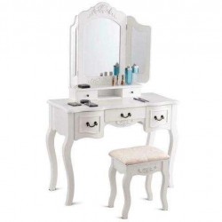 White Tri Folding Mirror Wood Vanity Makeup Table Set with Stool 5 Drawers