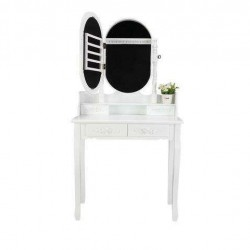 White Vanity Dressing Table w/ Mirror Jewelry Cabinet Makeup Desk Girls Gift