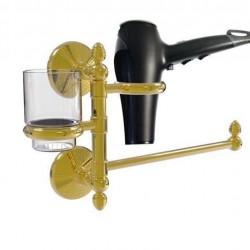Allied Brass MC-GTBD-1-UNL Monte Carlo Collection Hair Dryer Holder & Organizer, Unlacquered Brass