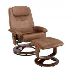 Reclining Massage Chair and Ottoman, Brown Microseude