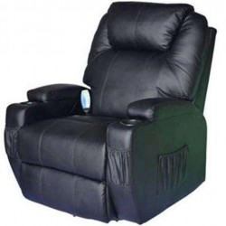 OnlineGymShop CB15858 Living Room Recliner Massage Chair Heated Vibrating PU Leather - Black