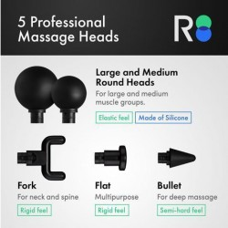 REATHLETE DEEP4S Percussive Therapy Device - Massage Gun for Athletes - Handheld, Wireless Deep Tissue Massage - Ideal for Back, Shoulder, Arms, Glutes, Calf's - Full Body Vibrating Pain Relief