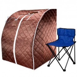 Large Low EMF Negative Ion FIR Infrared Portable SPA Sauna with Chair and Footpad at Home or Office for Relaxation and Comfort - Brown