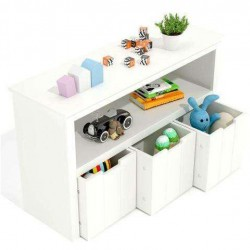 Kids Toy Storage Cabinet,Toddler's Room Chest Cabinet Organizer Toy Box w/Wheels