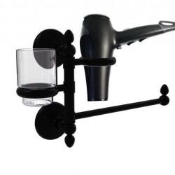 Allied Brass MC-GTBD-1-BKM Monte Carlo Collection Hair Dryer Holder & Organizer, Matte Black