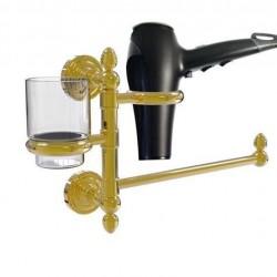 Allied Brass DT-GTBD-1-UNL Dottingham Collection Hair Dryer Holder & Organizer, Unlacquered Brass