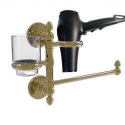 Allied Brass P1000-GTBD-1-UNL Prestige Skyline Collection Hair Dryer Holder & Organizer, Unlacquered Brass