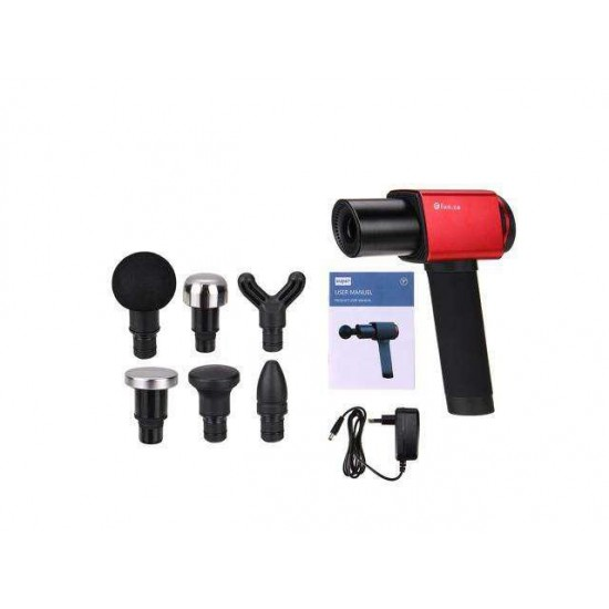 30db 3400mah Percussion Massager 6 Speed Electric Massager Therapy Vibration G un 1200-3200r/min Deep Tissue Muscle Massage 7H Long Battery Life-EU Plug/Red/Advanced Version