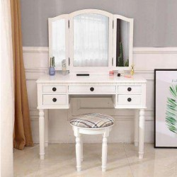 Vanity Makeup Dressing Table Set Folding Mirror Desk Dresser W/Stool 5 Drawers
