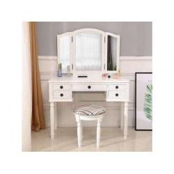 Vanity Makeup Dressing Table Set Folding Mirror Desk Dresser W/Stool 5 Drawers