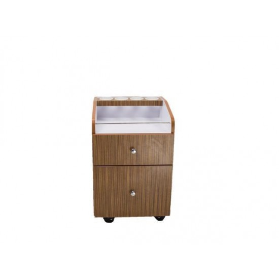 VERONA II Pedicure Trolley Wooden Trolley, Nail Salon Storage Cart Rolling Pedicure Cart with Drawers, Yellow/Brown