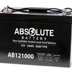 Absolute AB121000 12V 100Ah AGM Sealed Lead Acid Battery AB121000 Group 27