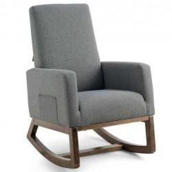 Mid Century Retro Fabric Upholstered Massage Rocking Chair-Gray