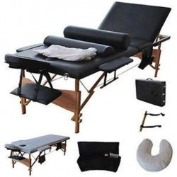OnlineGymShop CB15206 84 in. Massage Table Portable Facial Bed with Sheet, Cradle, Cover & Bolsters 3 Fold - Black