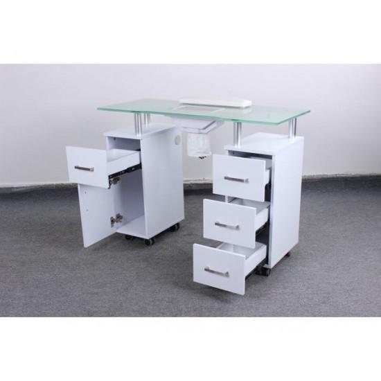 Manicure Table GLASS GLOW WHITE Salon Nail Table Salon Furniture & Equipment
