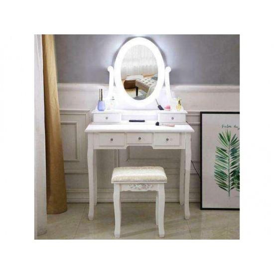 Vanity Table 10 LED Lights 5 Drawers Makeup Dressing Desk Set Bedroom Vanities