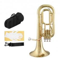 Brass B Flat Baritone Gold Hard Case Gloves Moutiece Cloth
